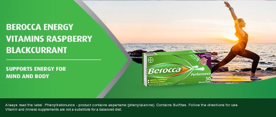 Berocca Energy Vitamin Raspberry Blackcurrant Effervescent Tablets 30 pack