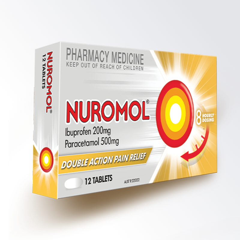 Nuromol 200mg Strong Pain Relief Tablets Ibuprofen/500mg paracetamol