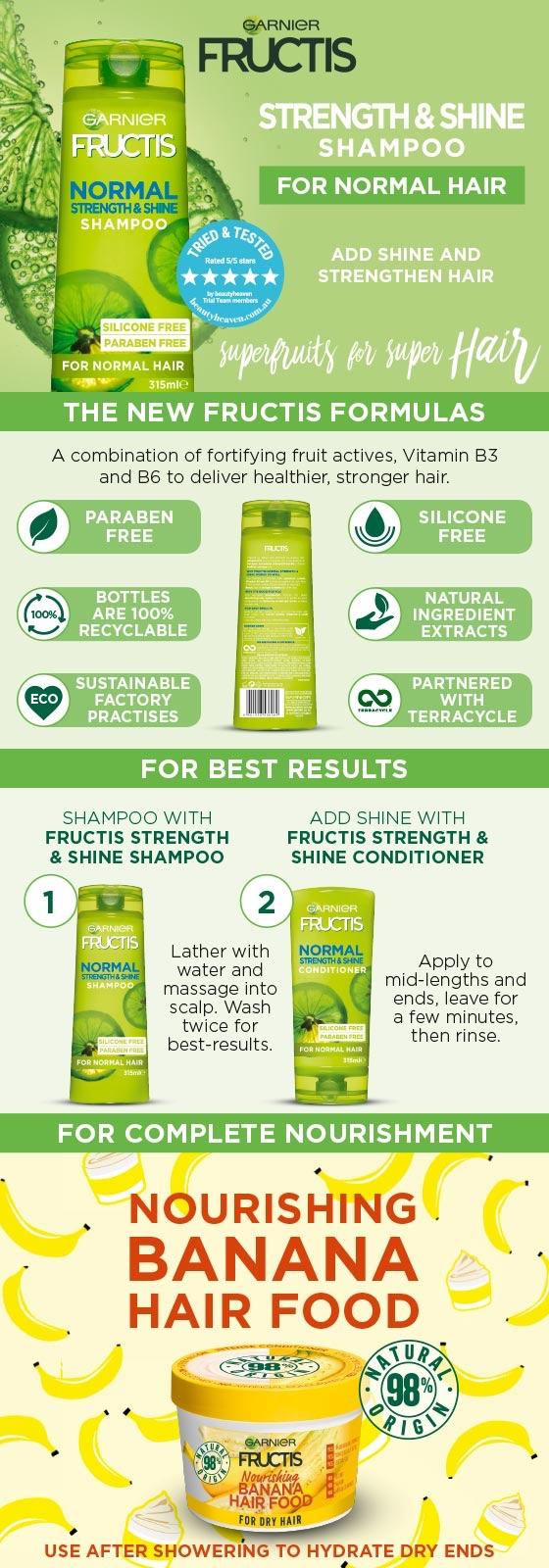 Garnier Fructis Normal Strength & Shine Shampoo 315ml