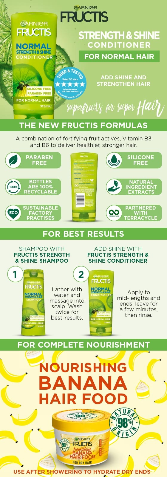 Garnier Fructis Normal Strength & Shine Conditioner 315ml