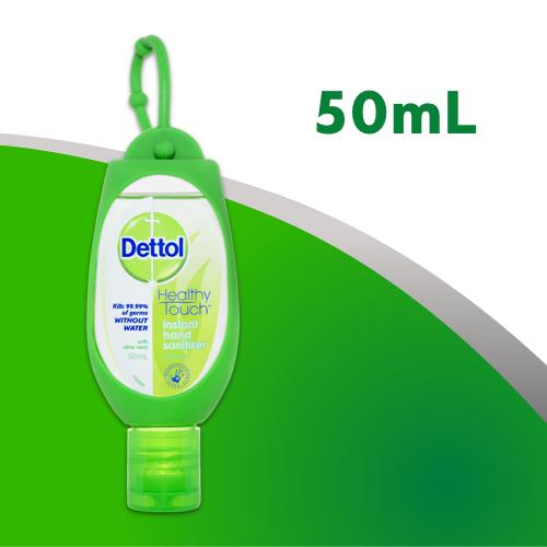 Dettol Healthy Touch Liquid Antibacterial Instant Hand Sanitiser Refresh Green Clip 50mL