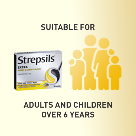 Strepsils Extra Honey and Lemon Fast Numbing Sore Throat Pain Relief with Anaesthetic Lozenges 36pk